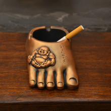 Creative Retro Personality Contentment Often Music Buddha Feet Mini Car Ashtray Birthday Gifts Decoration Jewelry