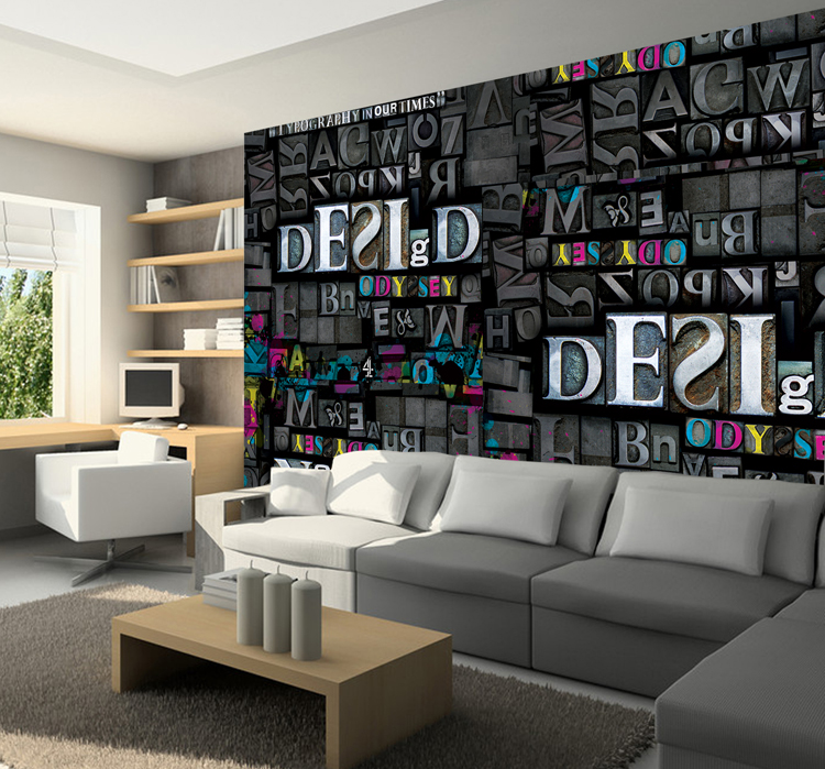 Free Shipping 3D letters bedroom living room wallpaper Bar Cafe theme room large mural<br><br>Aliexpress