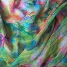 2m/lot light chiffon Sheer fabric for beach dress scarfs green floral print chiffon tissue material(China)