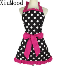 XiuMood New Fashion Sweetheart Adult Bibs Dots Cotton Fabric Kitchen Cooking Aprons Dress For Woman Waiter With Pocket