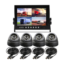 FREE SHIPPING 4 Pin DC 12-24V 9 inch LCD Quad Split Car Reverse Monitor 4 Channel Kit+ Night Vision Car Camera for Truck Bus Van(China)