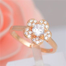 Atreus Unusual 1pc Gold Color Striking Flower CZ Splendid Woman's Ring Size 7-9