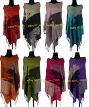 Free Shipping Hot Sale Elegant Lady's Lily Flower 100% Pashmina Shawl Wraps Scarf(China)