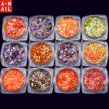 12jars/set 12colors mixed size Nail Art Glitter ROUND Shapes Confetti Sequins Acrylic Tips UV Gel C Style free shipping(China)