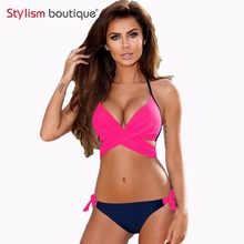 Buy Push Bikini 2018 Sexy Bandage Criss Cross Swimsuit Women Swimwear Contrast Biquini Halter Wrap Bathing Suits maillot de bain
