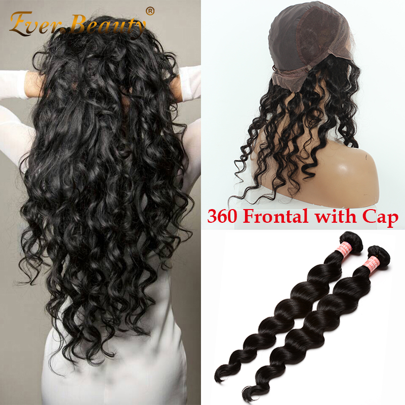 Pre Plucked 360 Lace Frontal Closure with Bundles Peruvian Virgin Hair Loose Wave 360 Lace Frontal with Wig Cap add 2 Bundles<br><br>Aliexpress