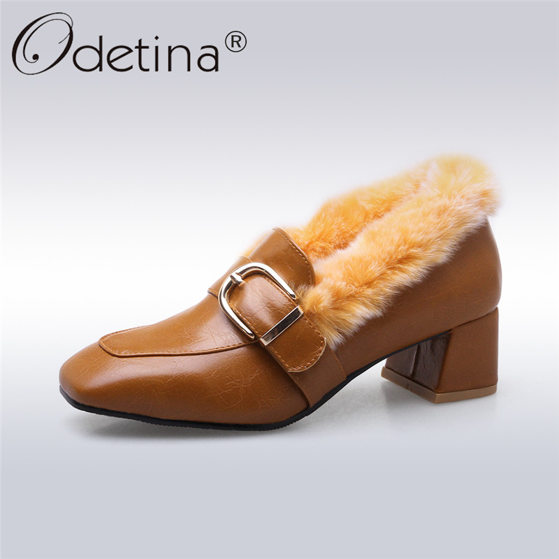 Odetina 2017 New Fashion Womens Winter Pumps Mid Heel Rabbit Fur Loafers Buckle Square Toe Warm Shoes Thick Plush Big Size 32-46<br>