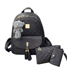 New Arrival 3pcs/set Small Bear Girls School bag PU Tassel Women Backpack Double Zipper Women Bag Vintage Backpack bags(China)