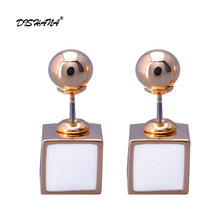 New Small Fashion Fine Jewelry Double Side Gold Stud Earrings for Women Brincos Bijoux High Quality (E0646)