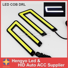 DIY Daytime COB Lights U Shape Led Daytime Running Light 15W Auto Lamp For Universal Car Light Source Waterproof 100%