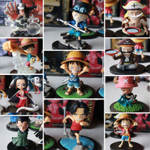 Ceecilio Anime One Piece Figure Luffy Zoro Ace Sabo Robin Roger PVC Model Toys 5-8CM