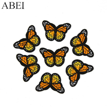 10pcs/lot Jeans Sewing Patches Iron On Orange Butterfly Stickers Handmade Patchwork Craft Diy Logo Clothes Bags Motif Badge(China)