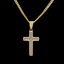 Men Hiphop Gold Color Titanium Stainless Steel Necklace Micro Pave Rhinestone Iced Out Bling Cross Pendant Necklaces Men Jewelry(China)