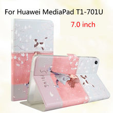Fashion For Huawei T1 7.0 T1-701u Silicone PU Leather Cover Case Funda For Huawei MediaPad T1 7.0 T1-701u Tablet Skin Stand Case(China)