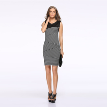 2016 spring new women's European and American foreign trade hot EBAY striped stitching women's European leg dress pencil dress