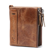 Buy Genuine Leather Wallet Credit Business Card Holders Double Zipper Cowhide Crazy Horse leather coin male wallet purse Carteira for $10.11 in AliExpress store