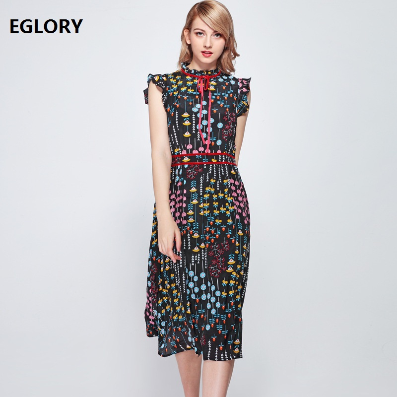 Slim Fit & Flare Dres 2019 Spring Summer Party Luxury Dresses Women Chic Print Sleeveless Mid-Calf Length Dress Vestidos Mujer