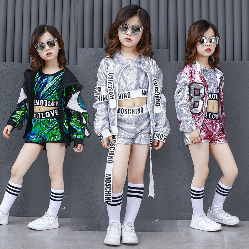 Girls Modern Jazz Costume Children Fashion Sequins Hip-hop Dance Costumes Drums Street Dance Performance Outfit Sets