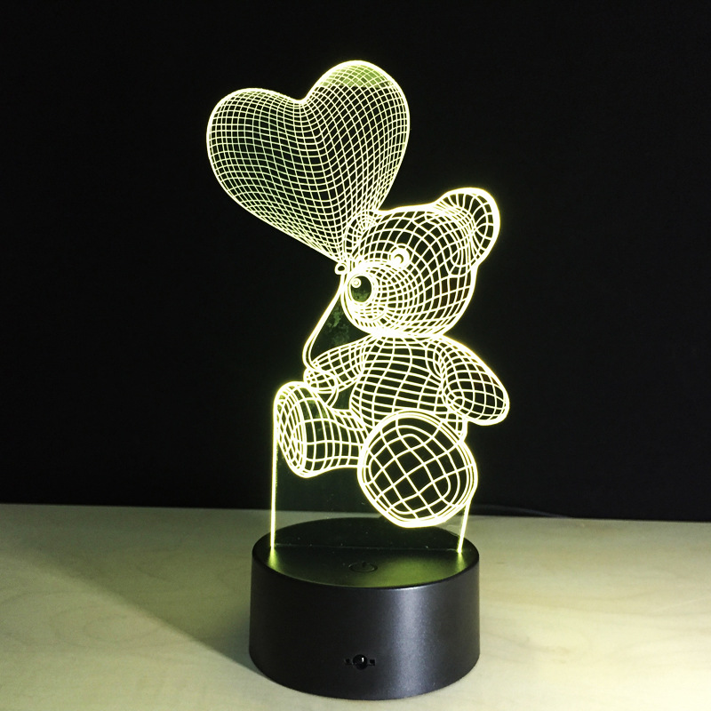 Cartoon Cute Bear Heart Balloon LED Night Light Colorful changing Table Lamp Baby Sleeping Lighting for Kids Toys(China (Mainland))