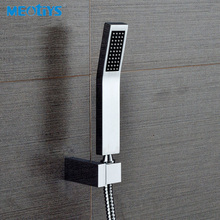 MEOTIYS Bathroom Shower Head Unique Brass Hand Held Shower Head Chrome Square Shape Sprayer Save Water