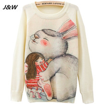 2017 Christmas Women Sweater Winter Cute Rabbite Printing Women Sweater Long Sleeve Lady Sweaters Female Tops