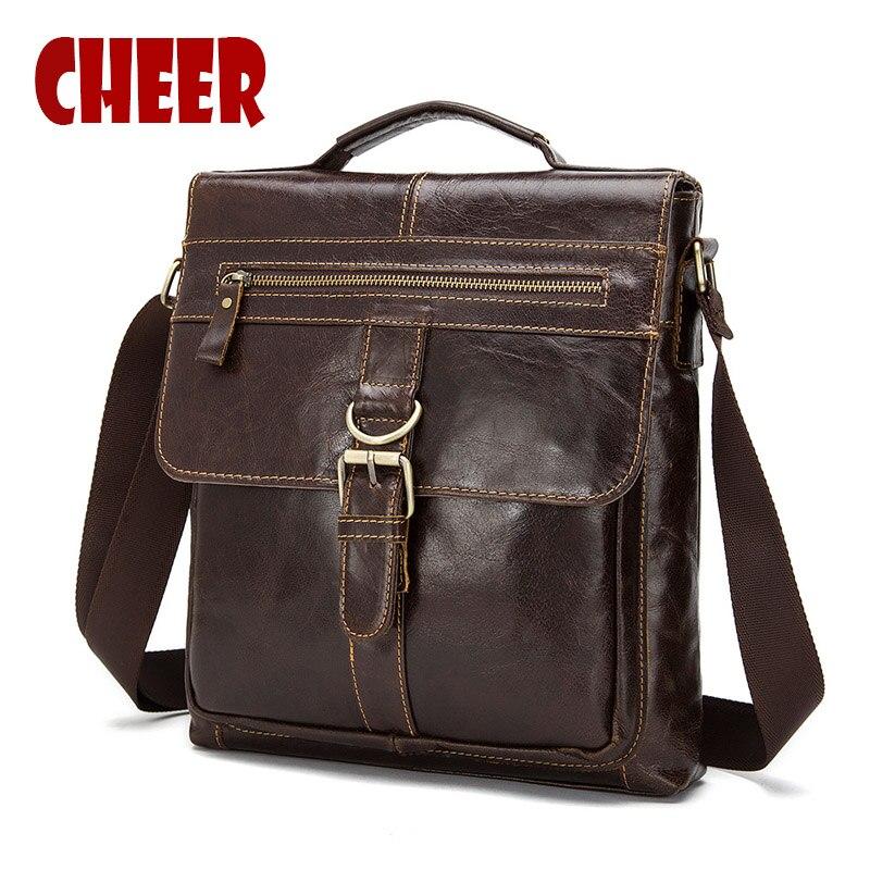 2017 hot Vintage Genuine Leather men bag Mens shoulder Messenger bag Cover the vertical section Designer Leather bag<br>