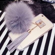 LOVECOM Luxury Fox Fur Ball Phone Case For iPhone 6 6S Plus 6Plus Pendant Tassel Soft TPU Back cover(China)