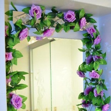 1Pcs/Pack 16 Colors Artificial Fake Flower Silk Rose Flower Ivy Vine Hanging Garland Wedding Decor party home garden Decoration(China)