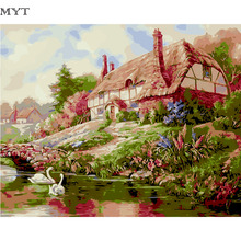 MYT Painting By Numbers Autumn Cheap Art Paintings Home Decorations Oil Picture Scenery Wall Art Poster Paints On Canvas DIY281