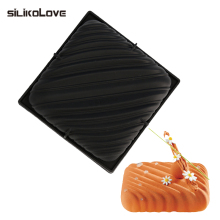 SILIKOLOVE Professional Moule Square Line Shaped 3D Black Silicone Cake Mold Baking Decoration Tools Cake Pan New Kitchen Goods(China)