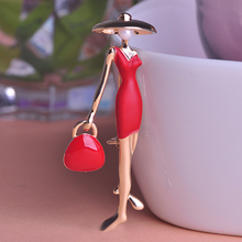 Brand New Modern Red Dress Accessories Figure Women Brooches Enamel Gold-color Broach Corsage Hijab Pins broche Mujer Jewelry(China)