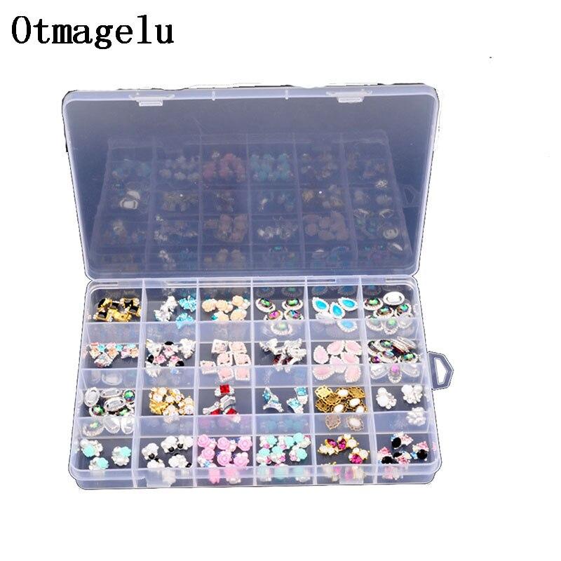 ONNPNNQ Clear Plastic 24 Slots Adjustable Jewelry Nail Art Rhinestone Empty Storage Box Case Craft Travel Organizer Bead Holder5