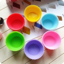 Hot 6pcs 6color 7cm Cake lined pattern  circular silicone muffin cup cake pan baking tools for cakes cooking  tools A011