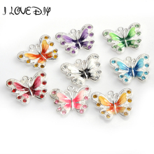 7 colors Wholesale 5pcs Mixed Enamel Animal Butterfly Pendent Charm for Jewelry Making Necklace 21mm Jewelry & Accessories