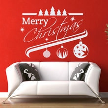 56X74cm Merry Christmas Decor Red Tree Removable Windows Vinyl Wall art Decal Home Decor Store Market Window Stickers Mural D768(China)