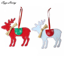 2PCS Christmas Tree Hanging Ornaments Christmas Trees Deer Hanging Pendant Decoration Hot sales Christmas Decoration N22