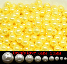 Free shipping Yellow Imitation Pearl Beads 6/8/10/12/14/16/18/20mm Acrylic Spacer Round Beads Fit Jewelry DIY (w03691)(China)