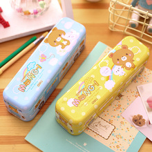 1pc/lot Yellow and Light Blue Creative Bus Design Cute Cartoon Pencil Case Multi-function Metal Pencil Box Gift for Boys Girls
