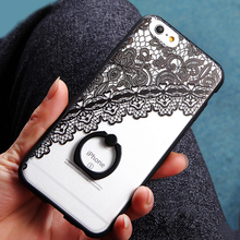 Hot  Black Lace floral Pattern Case For iPhone 6 6s 6plus 6splus 5S SE Hard Back Cover Cases lace Ring buckle phone skin