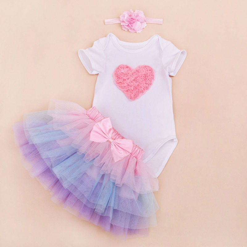 Vestidos bebes ninas New Baby Girl Clothing Sets baby girl outfit sets Crown girl heart rompers +Headband+Tutu Dress  3pcs Set<br><br>Aliexpress