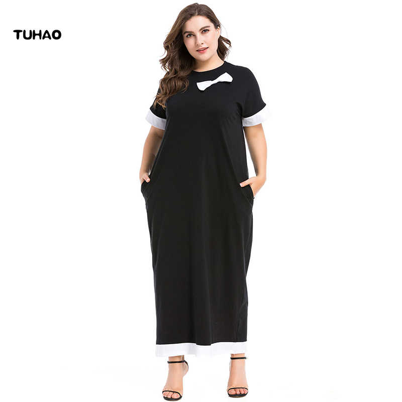 3e5abc60ce TUHAO Big Sizes 2018 Summer Dresses Maxi Long Dress Short Sleeve BOW Muslim  Abaya Maxi Dress
