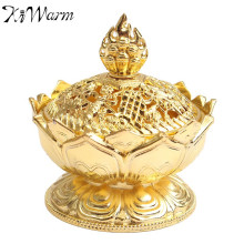 New Chinese Lotus Gold Incense Burner Holder Flower Statue Multifunction Censer Home Room Decoration Ornaments Craft Gifts