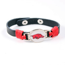 Nebraska Cornhuskers Team Logo Charms Leather Bracelet NCAA Mens Black Leather Bracelet For Men Women Fans Jewelry(China)