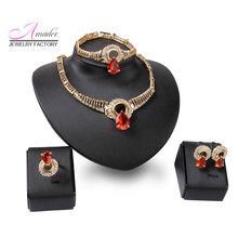 Red Fashion Jewelry Rose gold Color Necklace Earrings Bracelet Set It Can be used As a Wedding gift Private Party