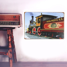 European Retro style locomotive sign board Wall stickers metal iron crafts pictures Furnishing articles painting draw bar house(China)