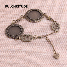PULCHRITUDE 3pcs 22cm Alloy Antique Bronze Chain Bracelet Star Charm Oval Cabochon base Setting Fit 20mm Dia Women Z0063