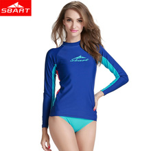 SBART Long Sleeve Rash Guard for Women Surf Top UV Sun Protection Lycra Wetsuit Rashguard Swim Shirt Quick-dry Women Swimwear