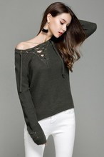 Factory Sell Rib-Knit V Neck Lace Up Blended Popular Brand Pullovers Sweaters Irregular Hem S-XXL Free Shipping(China)
