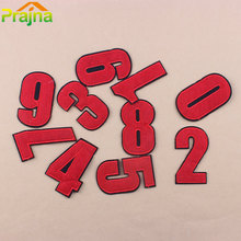 Prajna Red Letter Number Cartoon Iron On Patches Clothing Embroidered Patch Big Logo Vest Cheap Bordad Fabric Sticker AppliqueC1