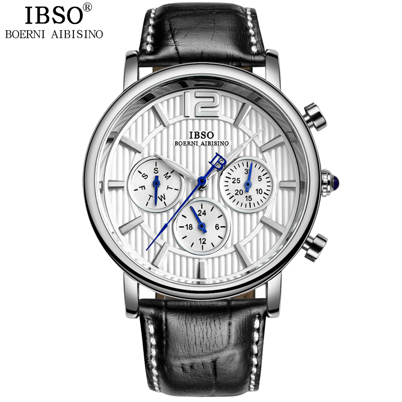 IBSO Brand High Quality Fashion Watch Men Genuine Leather Strap Calendar Multifunction Display Mens Watches Relogio Masculino<br>